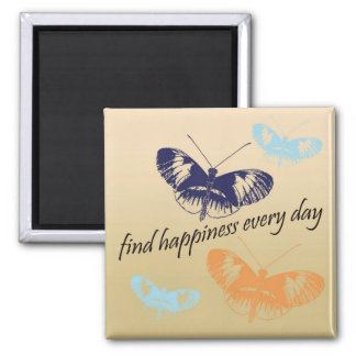 Happiness Butterflies 2 Inch Square Magnet