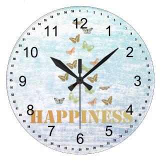 Happiness Butterflies Wall Clock