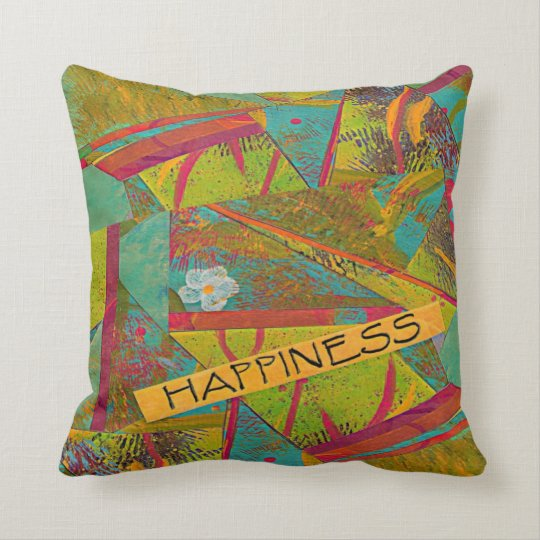 happiness collage throw pillow