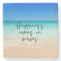 Happiness Comes in Waves Beach Quote Stone Coaster