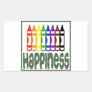Happiness: Crayons Rectangular Sticker
