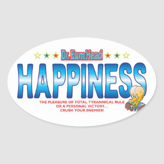 Happiness Dr Bum Head Oval Sticker