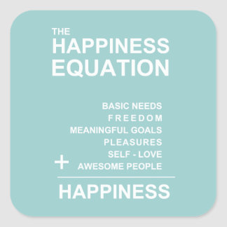 Happiness Equation Square Sticker