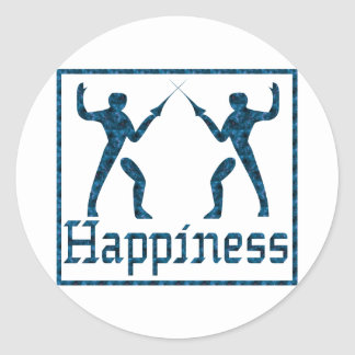 Happiness: Fencing Classic Round Sticker