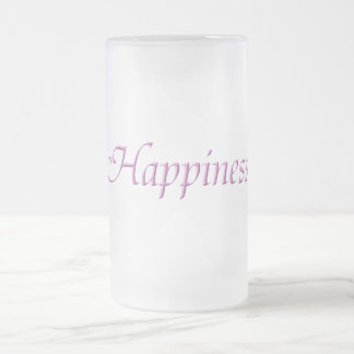Happiness Frosted Glass Beer Mug