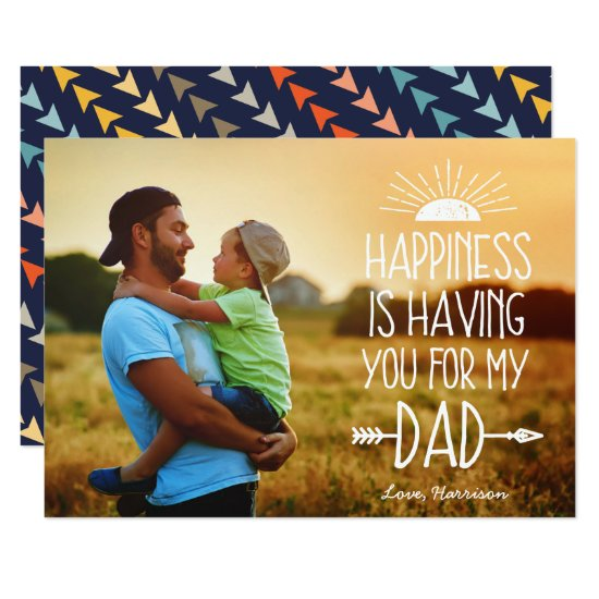 Happiness | Full Photo Father's Day Flat Card