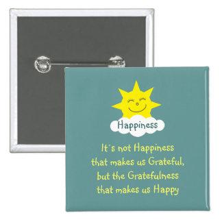 Happiness & Gratitude sun badge 2 Inch Square Button