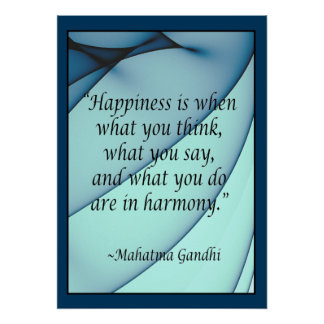 Happiness Harmony Gandhi Quote Poster