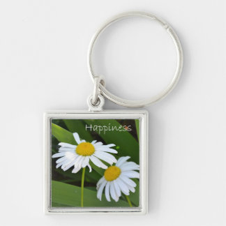 Happiness II Silver-Colored Square Keychain