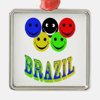 happiness in brazil metal ornament