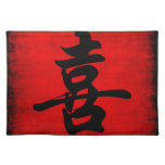 Happiness in Chinese Calligraphy Cloth Place Mat