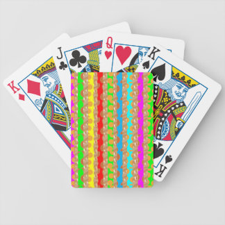HAPPINESS in COLOR: Smiling Stripes on Golden Base Bicycle Playing Cards