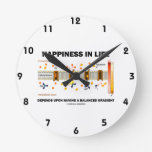 Happiness In Life Depends Upon Having Balanced Round Wall Clocks