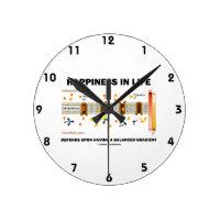 Happiness In Life Depends Upon Having Balanced Round Wallclock