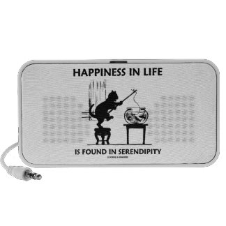 Happiness In Life Is Found In Serendipity (Cat) Notebook Speakers