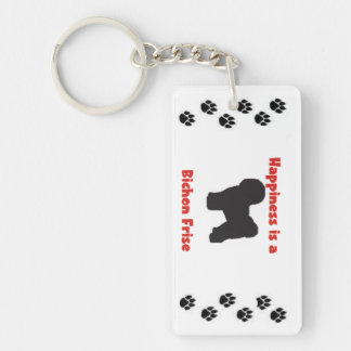 Happiness is a Bichon Frise Keychain