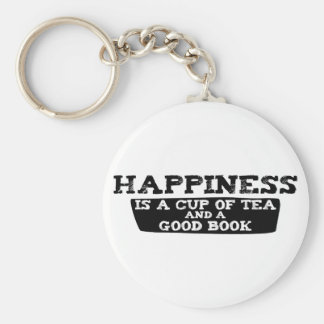 Happiness is a Cup of Tea and a Good Book Keychain