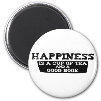 Happiness is a Cup of Tea and a Good Book 2 Inch Round Magnet