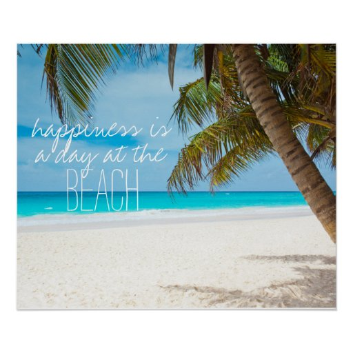 Happiness is a day at the beach inspiration quote poster