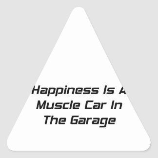 Happiness Is A Muscle Car In The Garage Triangle Sticker