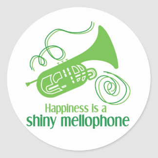 Happiness is a Shiny Mellophone Classic Round Sticker