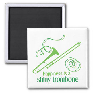 Happiness is a Shiny Trombone 2 Inch Square Magnet