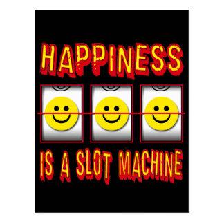 HAPPINESS IS A SLOT MACHINE POSTCARD