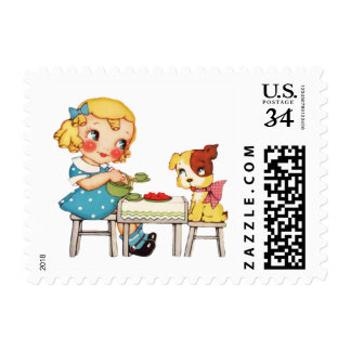 Happiness is a Warm Puppy Postage Stamp