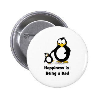Happiness is being a Dad Penguin 2 Inch Round Button