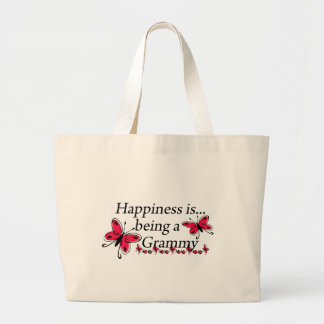 Happiness Is Being A Grammy BUTTERFLY Large Tote Bag