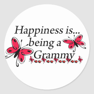 Happiness Is Being A Grammy BUTTERFLY Round Stickers