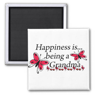 Happiness Is Being A Grandma BUTTERFLY 2 Inch Square Magnet