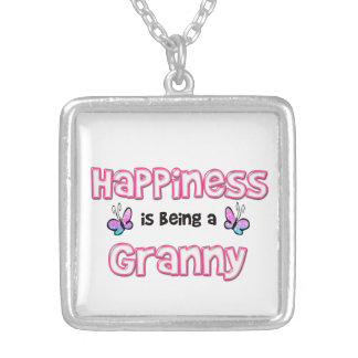 Happiness Is Being A Granny Square Pendant Necklace
