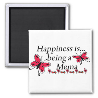Happiness Is Being A Mema BUTTERFLY 2 Inch Square Magnet