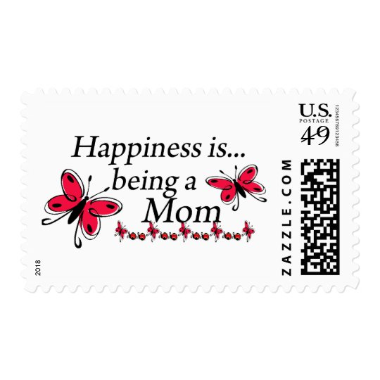 Happiness is Being a Mom Red Butterfly Postage