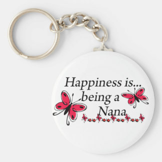 Happiness Is Being A Nana BUTTERFLY Basic Round Button Keychain