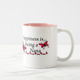 Happiness Is Being A Nana BUTTERFLY Two-Tone Coffee Mug