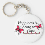 Happiness Is Being A Oma BUTTERFLY Keychain