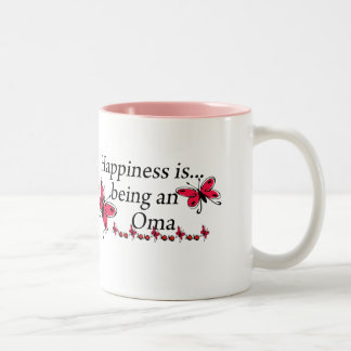 Happiness Is Being A Oma BUTTERFLY Two-Tone Coffee Mug