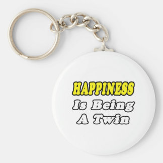 Happiness Is Being a Twin Basic Round Button Keychain