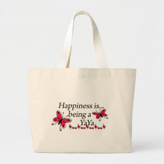 Happiness Is Being A YaYa BUTTERFLY Large Tote Bag