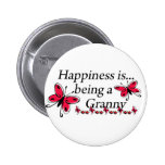 Happiness Is Being An Granny BUTTERFLY Pinback Button