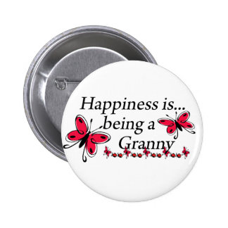 Happiness Is Being An Granny BUTTERFLY 2 Inch Round Button