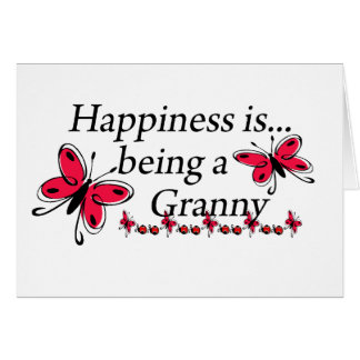 Happiness Is Being An Granny BUTTERFLY Greeting Card