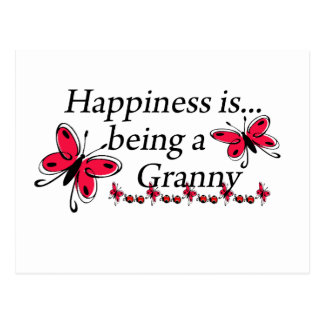 Happiness Is Being An Granny BUTTERFLY Postcard