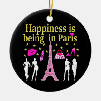 HAPPINESS IS BEING IN PARIS CERAMIC ORNAMENT