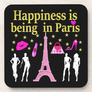 HAPPINESS IS BEING IN PARIS DRINK COASTER