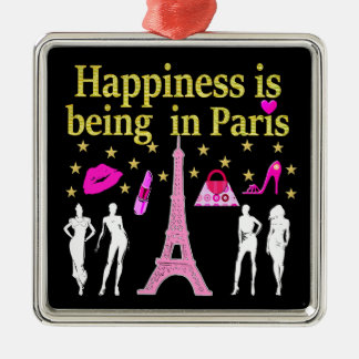 HAPPINESS IS BEING IN PARIS METAL ORNAMENT