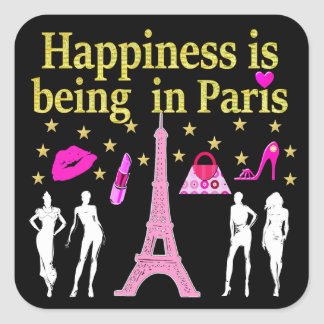 HAPPINESS IS BEING IN PARIS SQUARE STICKER
