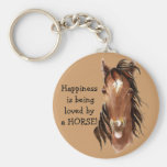 Happiness is being  loved by a HORSE! Humor Basic Round Button Keychain
